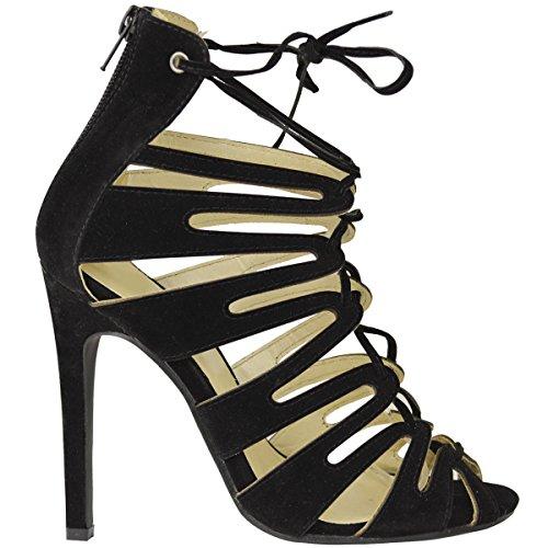 donna con lacci tacchi alti stiletto caviglia con spalline Cut Out Sandali Taglia NUOVO Scamosciato Nero