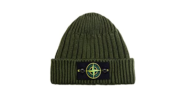 d175a7082 Stone Island Logo Badge Knitted Beanie Hat Olive Green: Amazon.co.uk ...