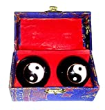 Meditation Qi-Gong-Kugel PaarYin Yang SteinkugelSTEIN MARMOR GRAU-WEISS