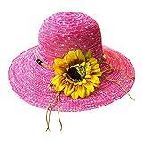 Amuster Chapeau de Paille Chapeau de Soleil Protection D'été Fleurs et nœud sur Bord côtes Chapeau de Paille Rayé Beachwear Voyage