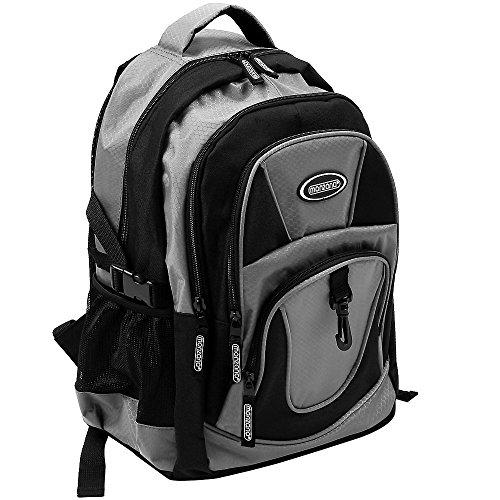 Monzana Rucksack Laptoprucksack Notebookrucksack Backpack Schulrucksack Schulranzen Freizeitrucksack 34 l Boden- und Innenfachpolster wasserabweisend strapazierfähig 7 Fächer grau-schwarz