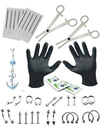 BodyJ4You Kit de 36pièces pour piercing nombril, langue, tragus, oreille, sourcils, mamelon, lèvre, nez - 1,2mm et 1,6mm
