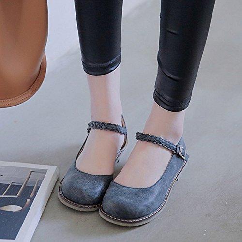 RizaBina Femmes Decontractee Plats Escarpins De Boucle Travail Chaussures Noir
