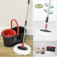 CALITEK 360° Spin Mop & Bucket Floor Cleaner, Adjustable Handle & 2 Mop Heads