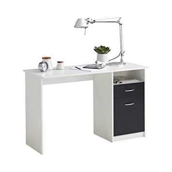 Schreibtisch holz weiß  FMD Möbel 3004-001 Jackson Schreibtisch, Holz, weiß/schwarz, 123 x ...