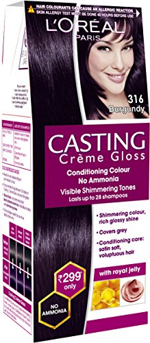 Loreal Paris Casting Creme Gloss Shade, Burgundy, 21 g + 24 ml  available at amazon for Rs.248