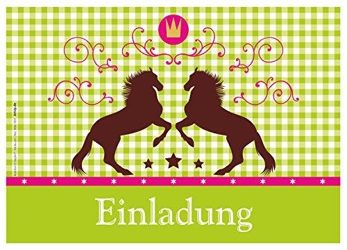 ArtUp.de 12 Einladungskarten Pferde / Karo / Grün Oktoberfest / Geburtstagseinladungen Einladungen Kindergeburtstag Jungen Mädchen Kinder Jugendliche Erwachsene Fest Vorlagen Karten Set