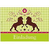 """12 Einladungskarten """"Pferde / Karo / Grün"""" Geburtstagseinladungen Einladungen Kindergeburtstag Jungen Mädchen Kinder Jugendliche Erwachsene Fest Oktoberfest Karten Set"""