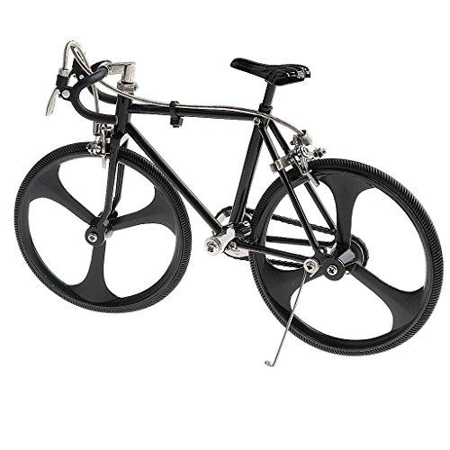Homyl 1:10 Scala Biciclette Bici Da Corsa Reale Libera Frenare Ruota Posteriore Bambini Lega Gomma - Nero