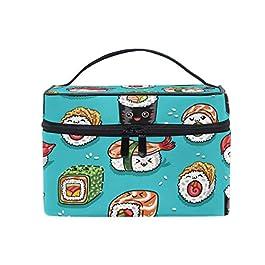 Borsa per il trucco da viaggio Sushi Emoji Cibo giapponese portatile Custodia per cosmetici Organizer Borsa da toilette Custodia Trucco Custodia per Wom