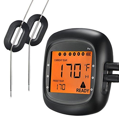 Thermomètre Bluetooth Cuisine, TOPELEK Thermomètre à au Four, Thermomètre de Cuisson Sans Fil avec 6 Prises de Sonde, Thermometre Grand Ecran Rétro-éclairé Lecture Instantanée 2 Sondes Fournis