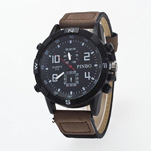 ZX 3-Pack-Etui runder Zifferblatt Lederband Canvas Watch ( Colour : Black and dark coffee ) (Dark Coffee Canvas)