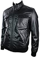 Mens All Leather Urban Retro Bomber Jacket Top Pocket Tan Black