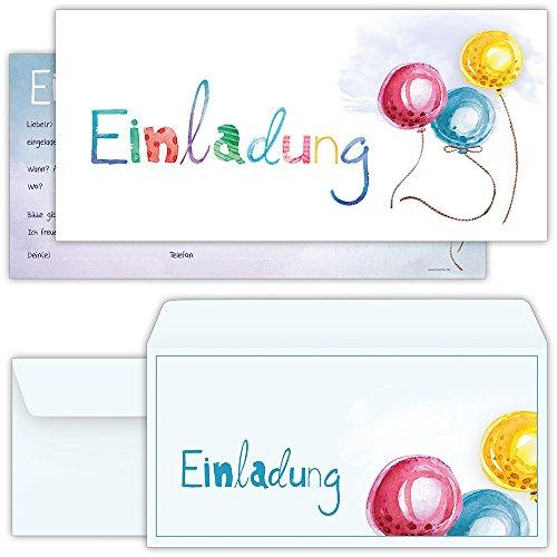 dungskarten mit 12 Umschlägen zum Geburtstag, Kindergeburtstag oder sonstige Feier mit freundlichem Ballon-Motiv | Kinder Geburtstag-Einladungen (Geburtstag-mädchen-mädchen Zubehör)