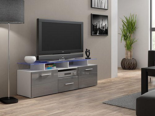 High Gloss Evora TV Cabinet Stand Entertainment Unit With Doors | Modern  Living (White U0026 Grey) Part 85