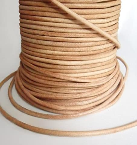 AURORIS - 50m roll leather cord round - Ø 1,5 mm - natural (uncoloured)