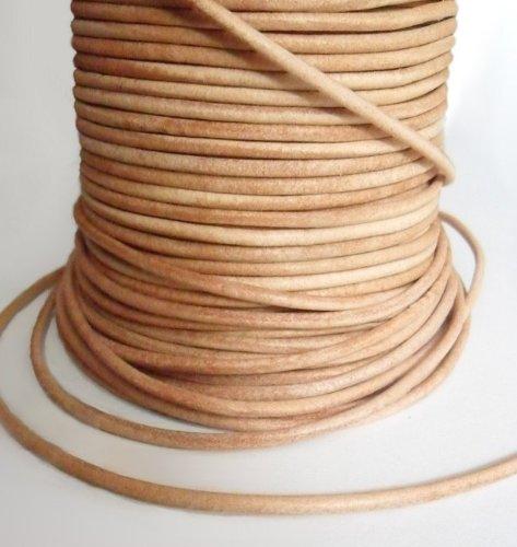 Auroris 10 m Rolle Lederband, rund Durchmesser 3 mm, natur (Natur Streifen Beige)