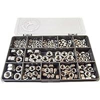 230piezas Plain tuercas hexagonales Kit. M3, M4, M5, M6y M8. A2–70acero inoxidable