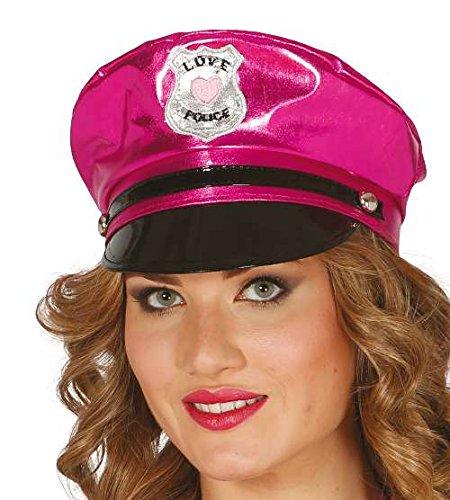 Guirca Sexy Polizeimütze in glänzendem Pink Damen Polizei Kostüm Fasching Motto