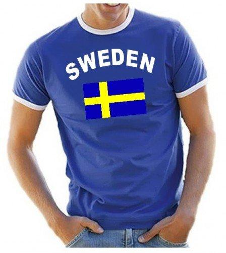 Coole-Fun-T-Shirts Herren T-Shirt Schweden Ringer, blau, XL, 10843_Schweden_HERI_GR.XL