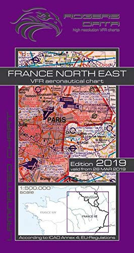 France North East Rogers Data VFR Luftfahrtkarte 500k: Frankreich Nord Ost VFR Luftfahrtkarte - ICAO Karte, Maßstab 1:500.000