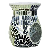 Aroma accessori metallici fan Mosaic bruciatore di cera, argento, 14cm