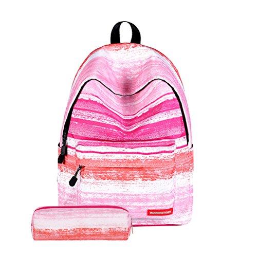 TTD Galaxy pattern ragazzi ragazze scuola borsa zaino leggero per escursioni viaggio campeggio-Stelle Striscia dentellare