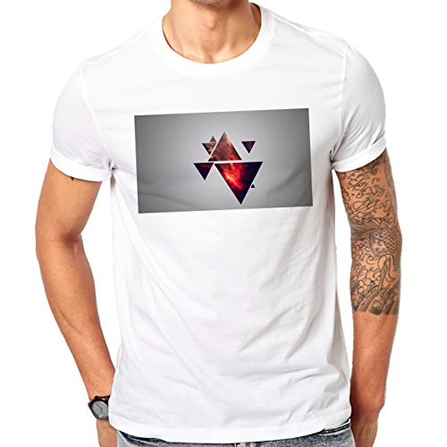 Illuminati Triangle Art Majestic Wall Many Fire Triangles Herren T-Shirt Weiß