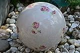 Gartenkugel-hübsche große Rosenkugel aus Steingut für Haus und Garten, Durchmesser: 19,5 cm, lasiert, moderne Ausführung