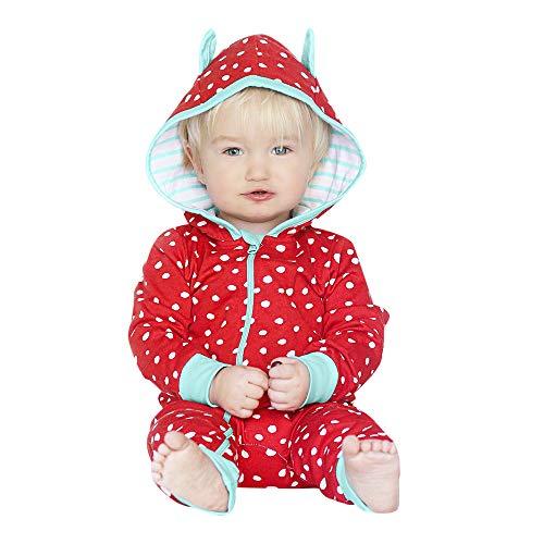 (Zarupeng Kinder Baby Kapuze Strampler Langarm Hoodie Jumpsuit Spielanzug Punkt Druck Reißverschluss Jungen Mädchen Overall Schlafsack)