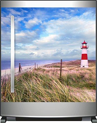 Wallario Kühlschrank-Aufkleber / Geschirrspüler-Aufkleber, selbstklebende Folie für Küchenschränke - 60 x 60 cm, Motiv: Leuchtturm am Strand von Sylt