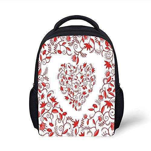 Kids School Backpack Valentines Day Decor,Paisley Floral Details with Leaves and Roses in a Shape of Heart Frame Image,Red Plain Bookbag Travel Daypack