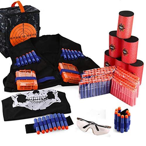 Zubehör Nerf Set Kinder Tactical Weste Jacke Kit für Nerf Spielzeug (w/200pcs Schaum Darts+ 1 x Weste+ 1 Schutzbrille Brille+1 Schädel Gesichtsmaske+2 Handgelenk Band+ 6 Reload Clip) Nerf Ziel