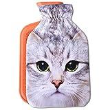 Wärmflasche mit Motiv 2 Liter, Wärmekissen mit abnehmbaren Flauschigen Bezug in vielen Variationen (Auswahl: Katze weiß)