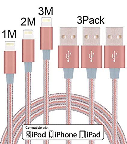 Elebar Nylon Braided Apple USB Lightning Cable 3Pack 1M 2M 3M for iPhone 7s 7 Plus 6s 6 Plus 5s 5c 5, iPad Pro, Air 2,iPad mini,iPod touch 5th gen / 6th gen / nano 7th gen-Rose Gold