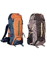 Gleam 2209 Mountain Rucksack / Hiking / Trekking Bag / Backpack 75 Ltrs ( ORANGE & BLACK Set Of 2 Bags ) With...