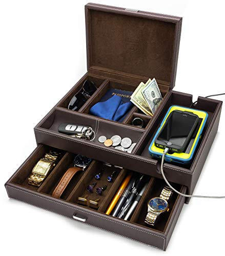 HOUNDSBAY Admiral Big Dresser Valet Box U0026 Jewelry Box Organizer With Large  Smartphone Charging Station (