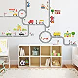 Decowall DA-1404 The Road and Cars Kids Wall Stickers Wall Decals Peel and Stick Removable Wall Stickers for Kids Nursery Bedroom Living Room (Large)
