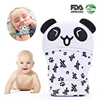 sinzau Silicone Teether Mittens, Cute Panda Gloves for 3-12 Months Infants, Make Sounds
