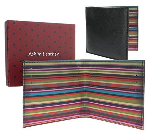 "Herren Leder Brieftasche, dekorative mehrfarbige Innenseite, ""Ashlie Leather"" Design AC2037 Pfingstrose Pfingstrose"