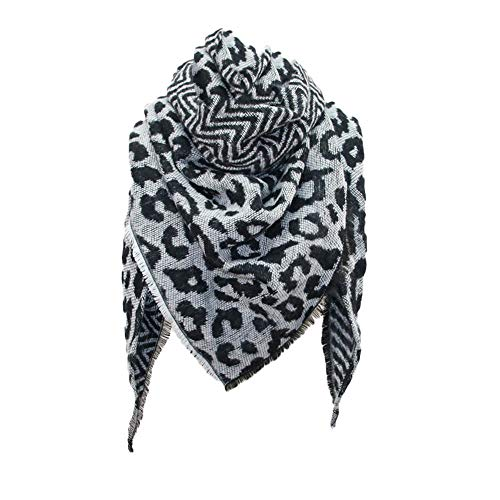 Mujer Pañuelos Leopardo Cachemira Elegante Bufanda Triangular de Doble Cara 140Cmx140Cmx190Cm Cálida Dama de Invierno Accesaria Diaria Bonito Regalo para Niña y Mujer
