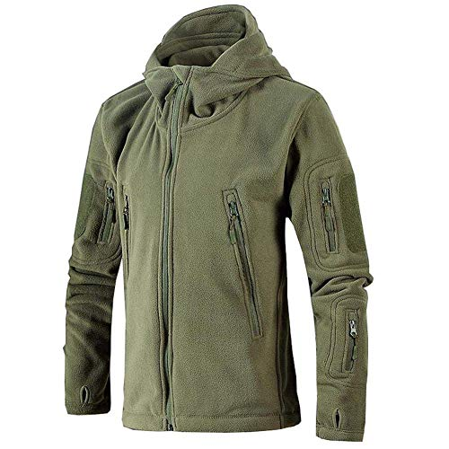 Marysa Herren Fleecejacke Warme Jacken Classic Full Zip Fleece Jacke Herren Militär Fleece Combat Jacke Tactical Hoodies Ideal für Sport Arbeit und Freizeit, Army_Green, M -