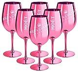 6 bicchieri da champagne Moet & Chandon rosa (Limited Edition) Ibiza Imperial in vetro Rose Champagne in vetro rosa scuro (6 pezzi)