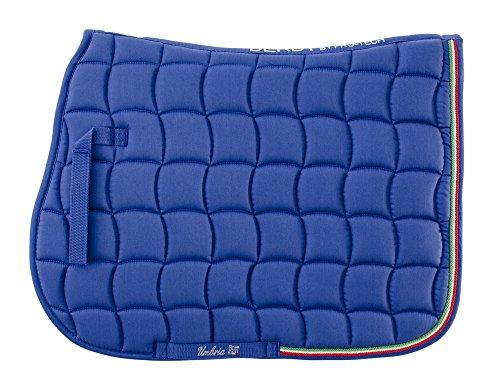 Sottosella inglese cotone sagomato trapuntato con passamaneria tricolore italiano Derby by Pro-Tech. Umbria equtazione, sella, cavallo, cavalli (blu)