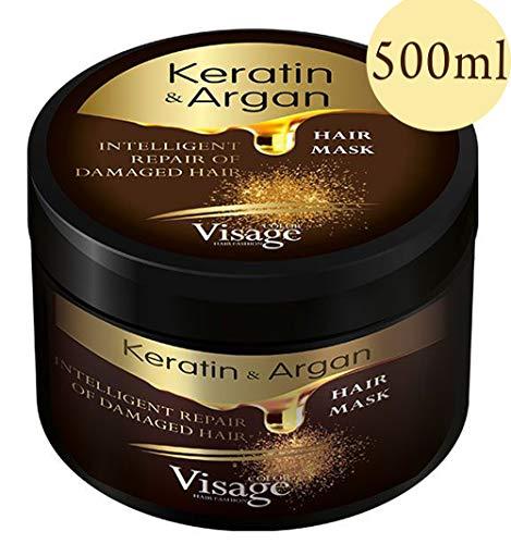 VISAGE Haarmaske Argan oil & Keratin | Haarkur strapaziertes und trockenes Haare | Hair Mask für gefärbte Haare Pflege & Haarglättung | Feuchtigkeitsspendend, Tierversuchsfrei, Premium Treatment 500ml