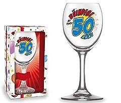 Idea Regalo - BICCHIERE 50 ANNI Calice vetro Gadget stampato idea regalo festa 50° Compleanno
