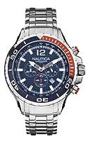 Nautica NST 02 A26535G - Reloj cronógrafo de cuarzo para hombre con correa de acero inoxidable, color plateado de Nautica NST 02