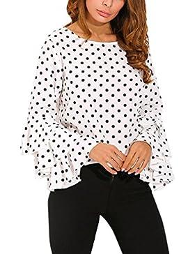 Polka Dot Campana manica Camicia Elegante Donna Hiroo O-collo Allentato Maglietta Moda Signora Top Maglia Manica...