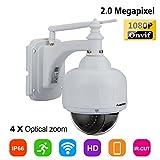 FLOUREON 1080P Dome IP Kamera WLAN Überwachungskamera PTZ Netzwerkkamera, Outdoor IP Cam, 4X Zoom P2P, Nachtsicht Bewegungsalarm, unterstützt Micro SD Karte