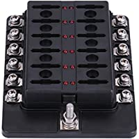 Qiilu 12 vías Caja de fusibles Estándar Circuito Cuchilla Kit de soporte de bloque ATO ATC para coche